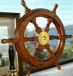 Shipand039s Teak Wood Steering Wheel 24 Inch Antique Style Brass Center