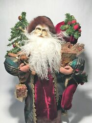 A Victorian Christmas Vintage Handcrafted Signed Santa Doll By Lynn Haney Studio