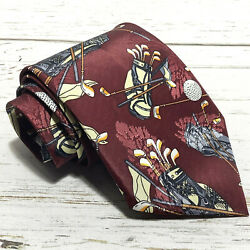 Dino Romaro Red Gold Bags Pattern Polyester Tie Wide 3.75W 54L $9.95