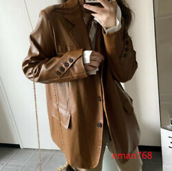 Fashion Womens Faux Leather Blazer Suit Jackets Button Down Motorcycle Overcoats