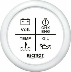 White Multifunction Boat Gauge 4 In 1 Oil ,temperature , Volt And Check Engine