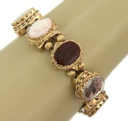 Vintage 14k Yellow Gold 8 Gems And Shell Oval Cameo Link Bracelet Liquidation