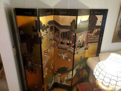 Vintage Asian Double Sided Room Divider Six Panel Screen Asian