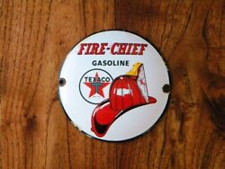 Vintage Texaco Fire Chief Porcelain Sign Gasoline Gas Station Oil Pump Lubester
