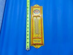 Rare Vintage Old Gold Yellow Blue And Red Mopar Metal Thermometer Sign Parts Usa