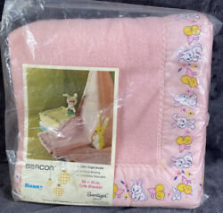 Vintage Beacon 70's Bunny And Chicks Pink Acrylic Baby Blanket Satin Trimmed 36x50