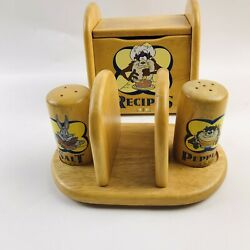 Vintage Warner Brothers Wood Recipe Box And Napkin Holder With Salt And Pepper Shake