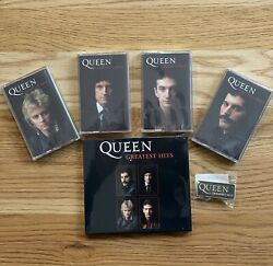 Queen Greatest Hits Signed Sealed Cd, Collectors Cassette Set And Badge Bundle