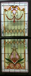 Antique Double Hung Stained Glass Window With Lyre