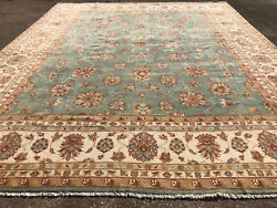 12x15 Handmade Wool Rug Hand-knotted Big Oriental Handwoven Turquoise Green Blue