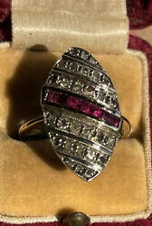 Large 14ct Gold Antique Art Deco Ruby And Diamond Navette Ring 4.6g Size O 1920's
