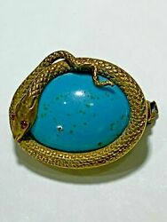 Antique Art Nouveau Glass Deco Turquoise Jeweled Snake Cabochon Hat Pin Brooch