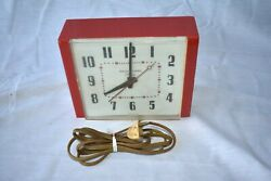1960's Red Vintage Art Deco General Electric Kitchen Wall Clock Mcm Plastic