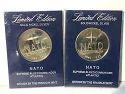Franklin Mint Two Nato Saclant 20th Anniversary Limited Ed Nickel Silver Coins
