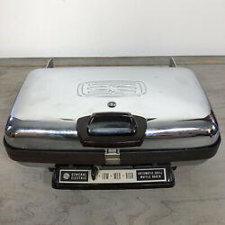 Vintage G.e. General Electric Mcm Waffle Iron Maker Chrome A5g44 Usa - Tested