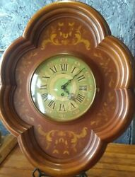 Antique Wall Clock Smith's Of London Large Fancy Wood Inlay Decorative Rare