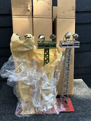 Mth No. 92 Flood Light Tower Set Terra Cotta And Green 2 Silver And Red 1 W/boxs
