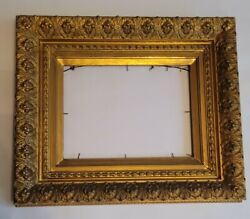 19th Century Gold Gilded Picture Frame Very Exclusive Fits 9 X 12 Photo-artwork