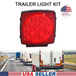 1x Led License Light Bulbs Submersible Trailer Red Waterproof Square Tail Lamps