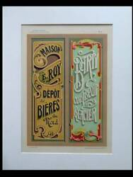 French Art Nouveau Signboards - 1900 Lithograph - Typography Bier