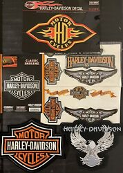 6 Original Harley Davidson Motorcycle Wings And Badge Large Patches And Sticker Set