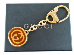 Italy Gold Brown Metal Key Charm Unisex In Storage Box