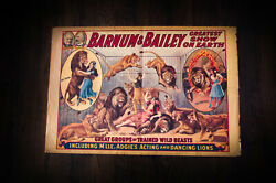 Barnum Baileyand039s Circus 16.5 X 24.8 Vintage Advertise Poster Reprint 1950and039s
