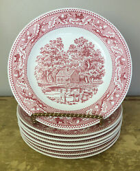 """Royal Ironstone China Memory Lane Dinner Plates 10"""" Set Of 8 Red Made In Usa"""