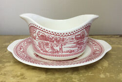 Royal Ironstone Memory Lane Gravy Boat Underplate Red Made In Usa