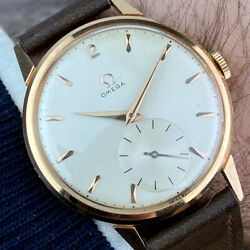Omega 18k Solid Gold Jumbo Menand039s Dress Watch From 1950and039s