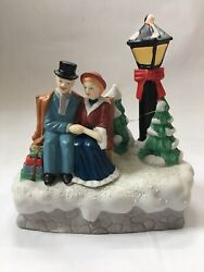 1990 House Of Lloyd Lighted Christmas Music Box Seated Couple Memory From Cats