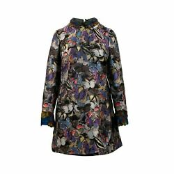 Nwt Valentino Multi-color Long Sleeve With Butterfly Shift Dress Size 6/42 7070