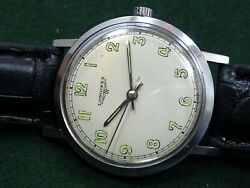 Excellent Vintage Men Thin 1966 Longines Luminous Dial Stainless Steel Watch 280