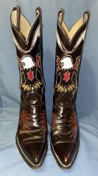 Texas Vintage Leather Eagle Inlay Stylish Cowboy Western Boots Men's 10d