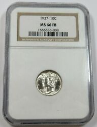 1937-p Ngc Ms 66 Fb Full Band Silver Mercury Dime 10c Us Coin 28391a