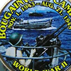 Ww2 Bougainville Campaign Coin Colorized Kennedy Half Dollar