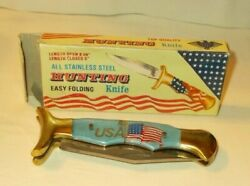 Vintage In Box Thick Bright Blue Lucite Handle Usa Flag Folding Hunting Knife