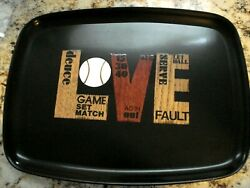 Rare Vintage Mcm Couroc Inlaid Wood Tennis Themed Tray Approx. 12.5 X 9.5