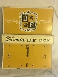 Vintage Biltmore Dairy Farms Clock And Light Wall Mount Or Ceiling Hang 1