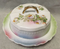 Antique Germany Round Covered Cheese Butter Dish White Roses Airbrushed