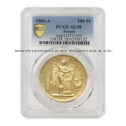 1886-a 100 Fr Angel Pcgs Au58 French Gold 100 Francs Graded Paris Minted Coin