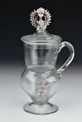 Venetian Blown Glass Covered Vessel Applied Handle And Decoration 17th Century