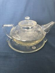 Beautiful Vintage Pyrex Glass Etched Teapot With Trivot