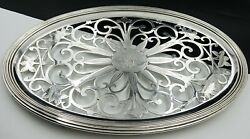 French Christofle Art Nouveau Silver Plated Pierced And Footed Oval Serving Tray