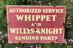 """Vtg 1920s Whippet And Willys-knight Genuine Parts Porcelain Dealer Sign 35.75"""" Dsp"""