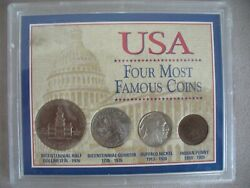 Usa Four Most Famous Coins Half Dollar,quarters ,buffalo Nickel,indian Penny