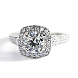 1.50 Carats Si2 F Coupe Ronde Vintage Halo Anneau Fianandccedilailles Diamant 18k Or
