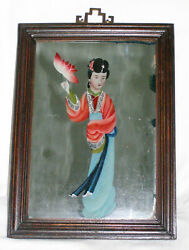 Antique Chinese Woman Holding Flower Eglomise Reverse Glass Mirror Painting-qing
