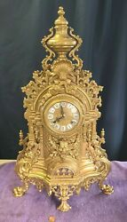 Vintage Imperial Franz Hermle Fhs Brevettato Brass Marble Clock 24 Inches Tall