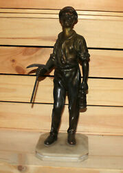 Antique Hand Made Metal Miner Male Statuette With Marble Base